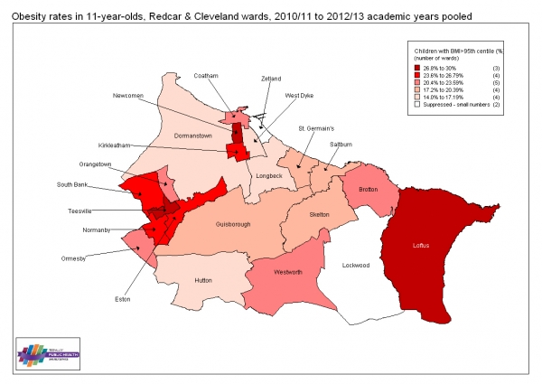Obesity at age 11, Redcar & Cleveland wards, 2010/11 to 2012/13